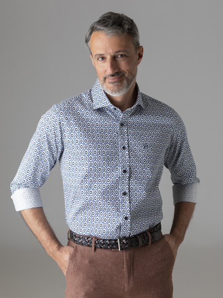 Picture of Men's cotton stretch shirt, cutaway slim, all over small print, SMART IRON FREE