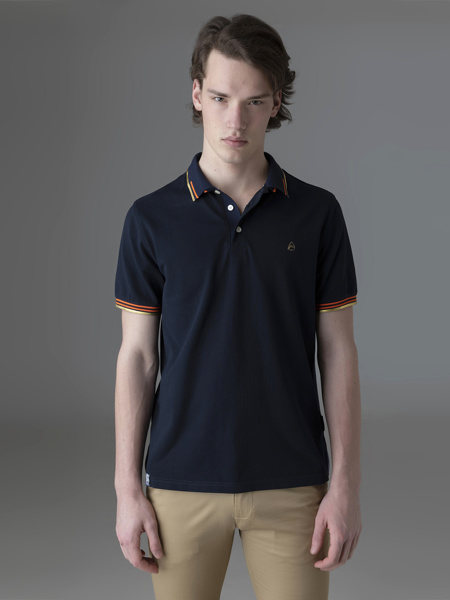 Picture of Men's polo pique combed cotton shirt with gold details