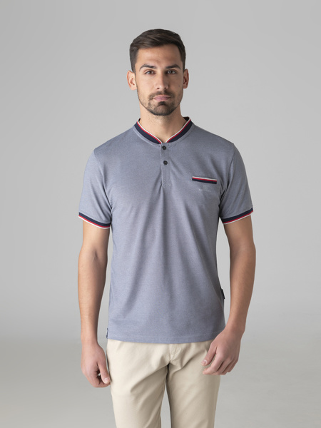 Picture of Men's college merserised t-shirt with placket