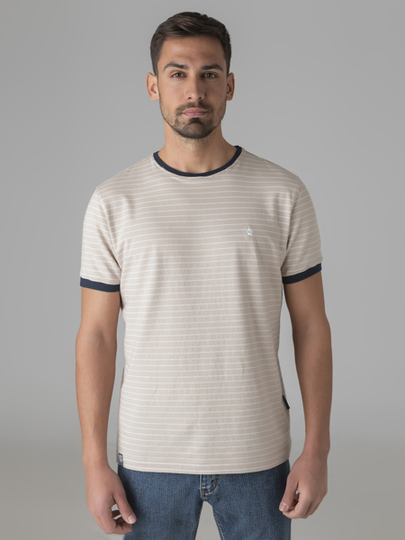 Picture of Men's striped t-shirt with contrast navy blue ribs