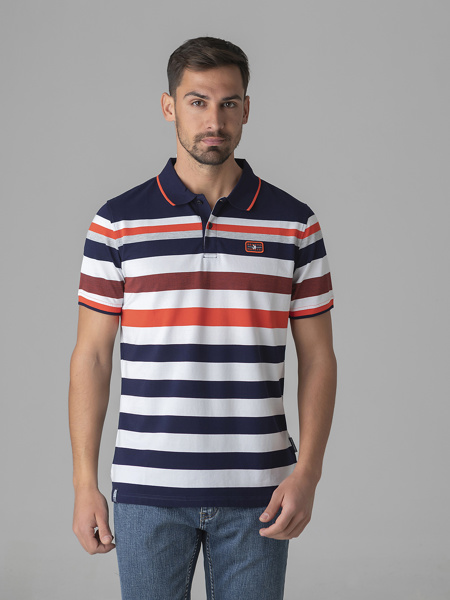 Picture of Men's polo pique striped shirt in combed merserised cotton