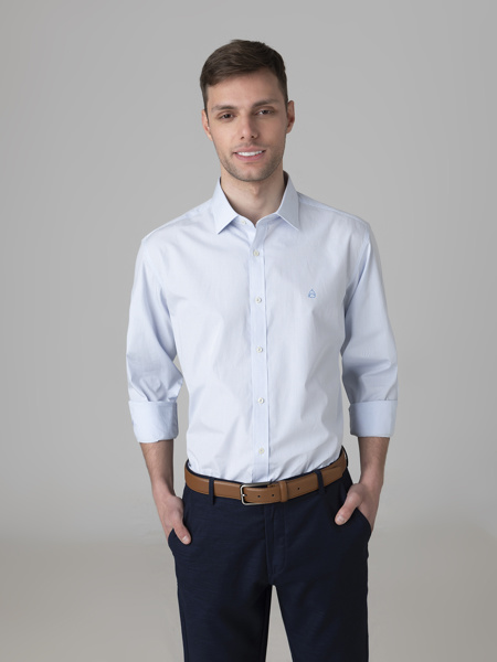 Picture of Cotton check shirt semi cutaway