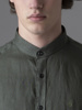 Picture of Men's linen khaki green shirt, in mao collar