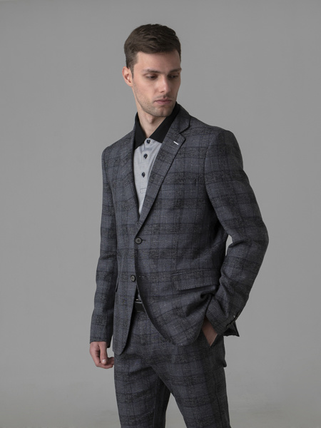 Picture of Check cotton linen blazer jacket