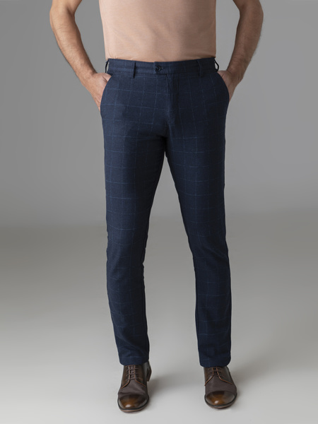 Picture of Cotton linen chinos pants in check