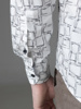 Picture of Cotton mandarin shirt, geometric print