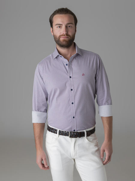 Picture of Cotton shirt with jacquard print