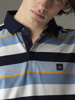 Picture of Men's striped polo pique shirt in merserised combed cotton