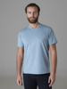 Picture of Men's t-shirt with 'V' neck and tone on tone stripes in the weave