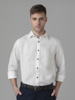 Picture of Men's linen white shirt,semi cutaway collar in slim fit.