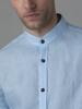 Picture of Men's linen blue shirt, in mao collar