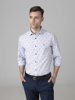 Picture of Cotton stripped shirt with small maritime all over embroideries