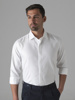 """Picture of Men's cotton white shirt, hidden placket, semi cutaway collar in slim fit. Fabric abilities: """"SMART EASY CARE"""""""
