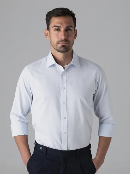 Picture of  Men's cotton ciel shirt, semi cutaway, slim  fit. HIGH QUALITY SOFTNESS FINISHING