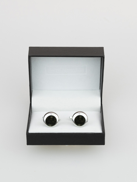 Picture of MEN'S ROUND SILVER PLATED BRASS CUFFLINKS