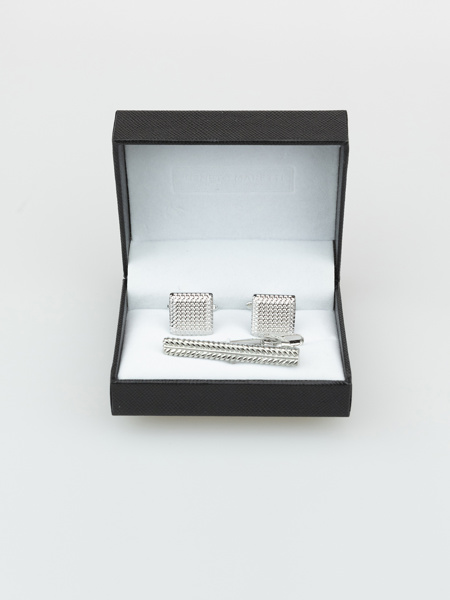 Picture of Men's set silver plated brass cufflinks and tie clip