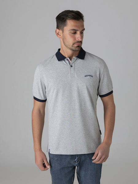 Picture of Men's polo pique shirt in grey melange