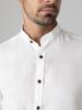 Picture of Men's linen white shirt, mandarin (mao) collar in slim fit
