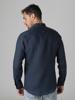 Picture of Men's linen navy blue shirt semi cutaway collar