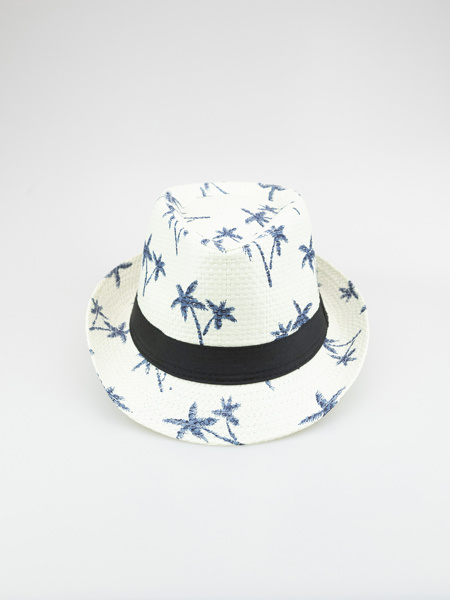 Picture of Panama hat with tropical print