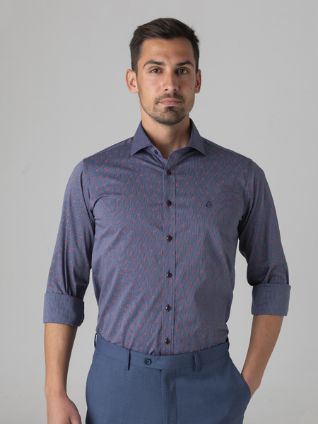 Picture of Stripped cotton shirt with small anchor prints