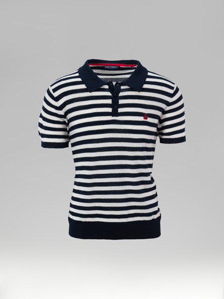 Picture of Mens knitted polo pique stripped shirt