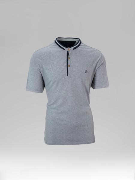 Picture of Mens polo pique shirt mandarine collar