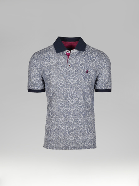Picture of Men's merserised polo pique shirt all-over floral print