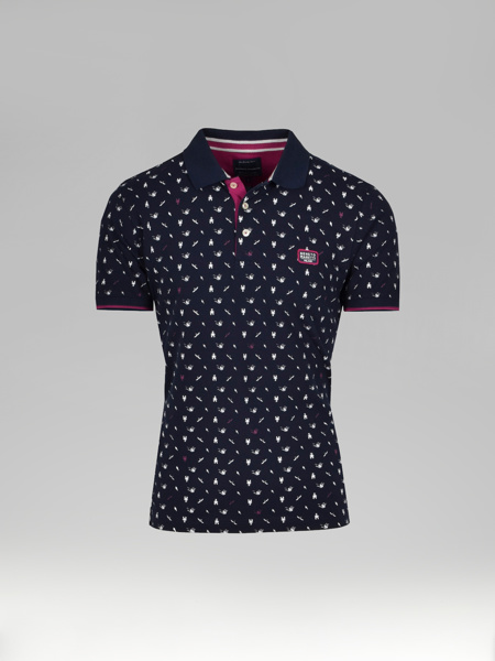 Picture of Men's polo pique shirt all-over maritime print