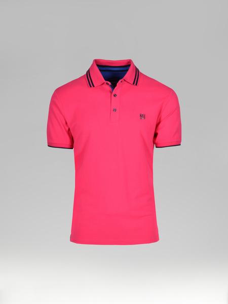 Picture of Men's polo pique shirt contrast chain stitch