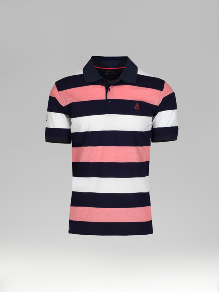 Picture of Mens striped polo pique merserised shirt.