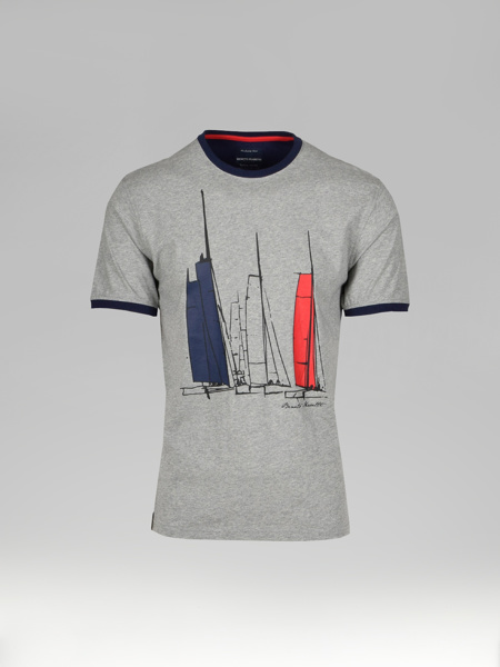 Picture of Cotton T-shirt with maritime silicone print