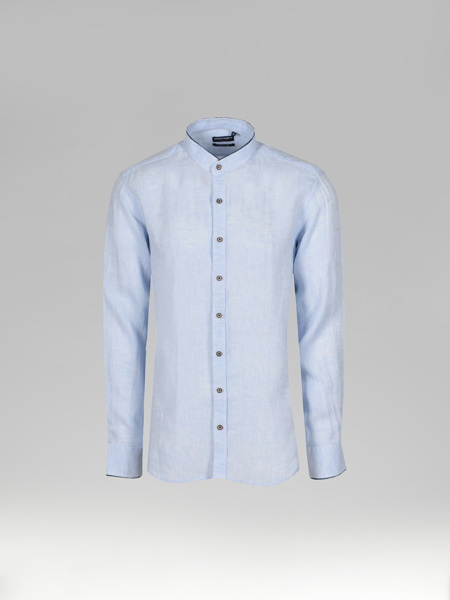 Picture of Men's Mandarine Collar Linen Light Blue Shirt
