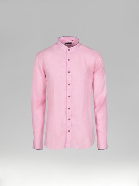 Picture of Men's Pink Mandarin Collar Linen Shirt