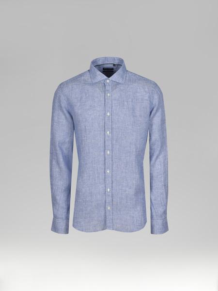 Picture of Men's Blue Check Linen Shirt