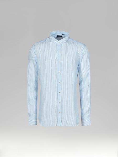 Picture of Men's Linen Light Blue Stripe Mandarin Collar