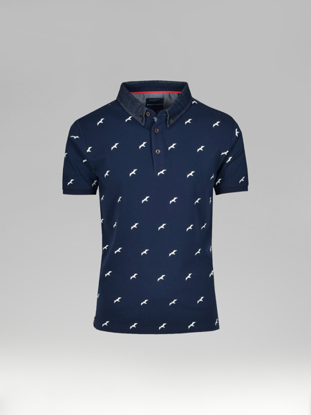 Picture of Mens cotton polo pique shirt jeans collar print 'seagulls'