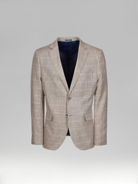 Picture of Men's cotton linen blazer jacket in check plaid jacquard