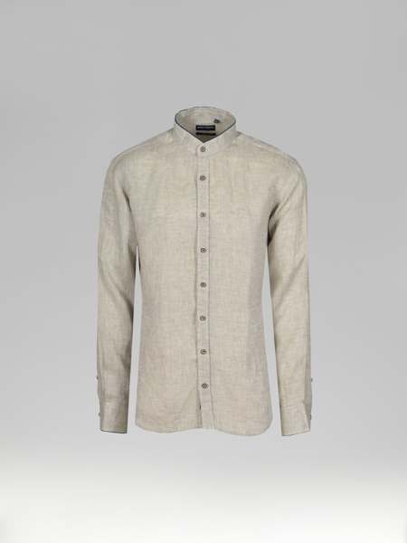 Picture of Men's Mandarin Collar Linen Beige Shirt