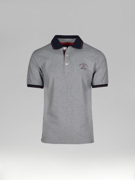 Picture of Men's polo pique shirt melange rib collar