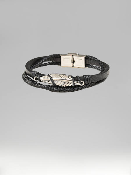 Picture of  Men's braided bracelet with metal feather