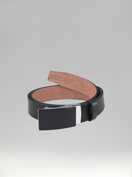 Picture of LEATHER BELT WITH FLAT METAL BUCKLE