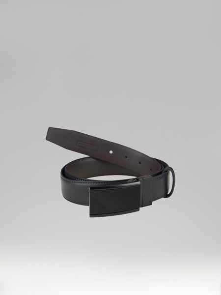 Picture of BLACK LEATHER BELT WITH PLATE BUCKLES