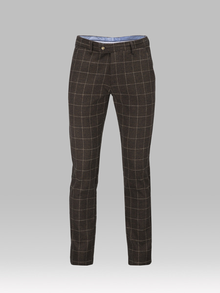 Picture of Check cotton linen chinos pants