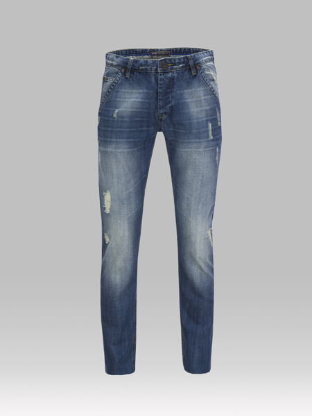 Picture of Side slit jeans pants in faded blue