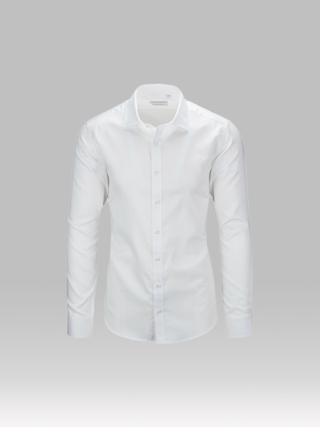 Picture of Men's cotton white shirt with semi cutaway collar
