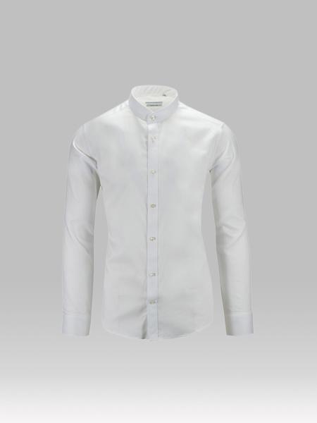 Picture of Men's cotton white shirt, mandarin (mao) collar custom fit