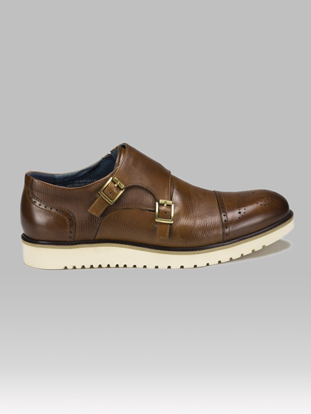 Picture of Leather mens monk brogue shoes
