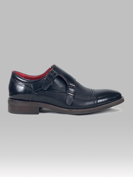 Picture of Men's leather monk perforated shoes