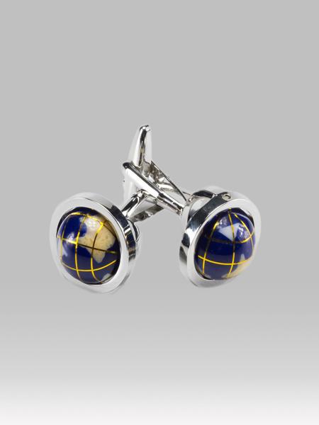 Picture of Silver plated brass modern cufflinks globe